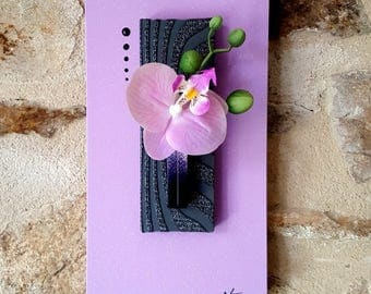 Purple and black floral painting with Orchid purple