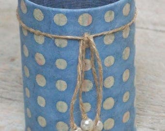 Pencil holder (No. 151) Blue polka dots