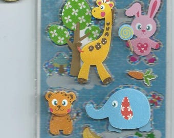 STICKERS - Jungle animals and rabbit 3D rose