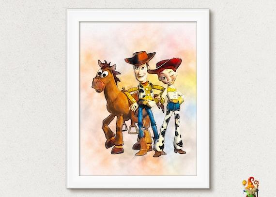 Woody Jessie Buzz Toy Story print Disney Toy Story poster Movie ...
