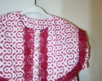 Toddler dress-Size 4T-India broken line print-madder red-lace trim-100% organic cotton-ready to ship