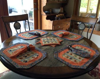 Quilted placemats, napkins and pot holder set
