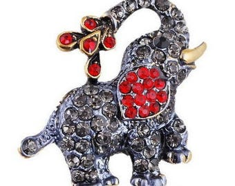 brooch with Rhinestones - small gift elephant
