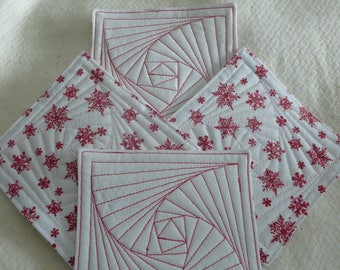 Coasters for Christmas,  Hostess Gift, Housewarming, Friend, Coworker, Red & White Snowflakes  (Set of 4)