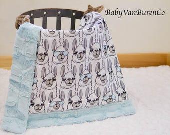 CribSizeShipsNow*** Llama Minky Blanket - Baby- Crib Blanket - Adult Blanket - Green
