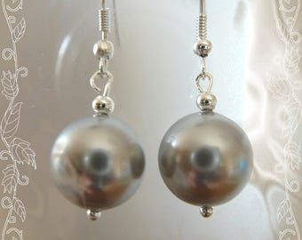 earrings with Pearl gray