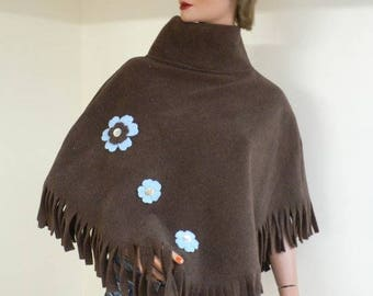 Material poncho Brown fleece