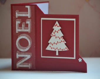 Merry Christmas card in folded corners
