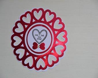 Map of St. Valentine round red hearts
