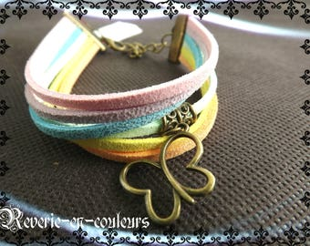 """Butterfly"" multicolored suede Cuff Bracelet"