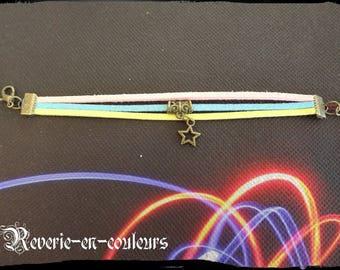 """Summer"" tri-color suede Cuff Bracelet"