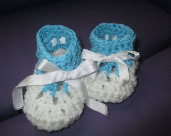 Blue and white 3/6 month baby booties