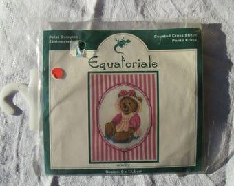 Embroidery pink Teddy bear on canvas aida, Christmas gift