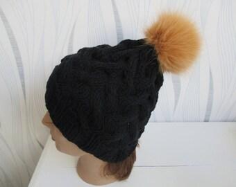 Black tassel Hat fur Fox with pressure woolen gift mothers day