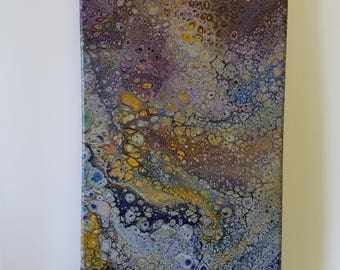 Flowing Abstract Painting with Colorful Cells (Acrylic Pour)