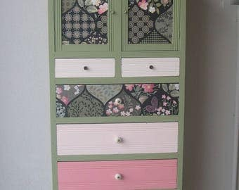 small chest of drawers high original green, pink and floral