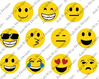 Emoji Compilation Clipart - Emojis - Emoticons - SVG + DXF + PNG Files for Silhouette Cameo or Cricut