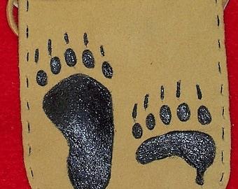 Native American Buckskin Leather Medicine Bag W/ Painted Bear Paws