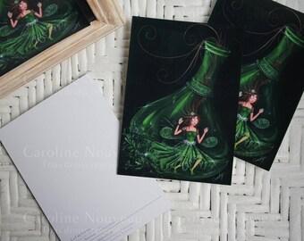 "Card 10.5x14.8cm - ""the green fairy"" - CAROLINE new"