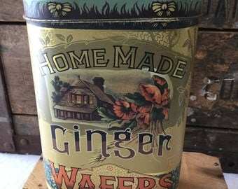 Vintage Home Made Ginger Wafers Advertising Tin / Daher / England