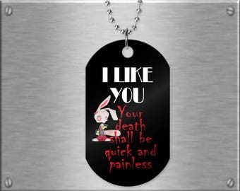 Funny dog tag necklace with an evil bunny