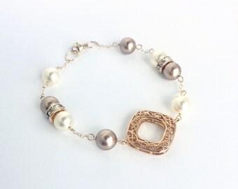 Gold pearl bracelet - gold charm bracelet - gold bracelet