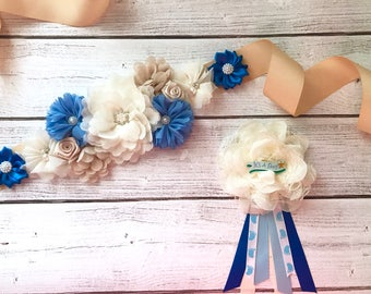 Flower Sash Boy Maternity Sash Pregnancy Sash Gender Reveal Party Baby Shower Gift Keepsake Baby Boy