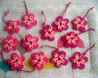 FLOWERS made of felt and wood * set of 12