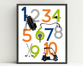Kids Golf Nursery Art, Golf Number Poster, Kids Wall Art, Golf Cart, Golf Bag, Golf Clubs, Tee, Kids Golf Bedroom, Choose Your Custom Colors