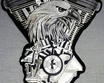 """NEW ~ Eagle V-twin Embroidered Biker Back Patch XL 10.5""""x 10.5"""""""