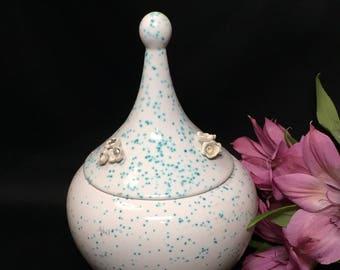 Mod Cool Retro Aqua Teal Speckled Covered Ceramic Dish Mid Century Decor
