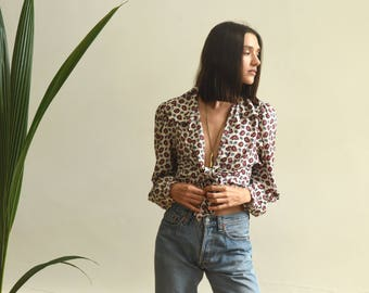 PAISLEY PRINT Vintage Blouse // silky feel blouse / shirt / top with puff sleeves // Size S - M