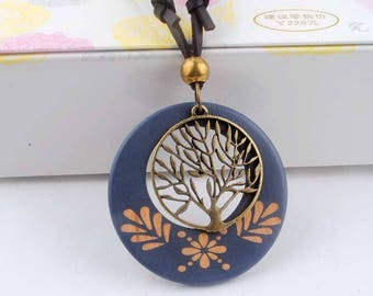 Antique Vintage Long Rope Necklace With Alloy Tree Pendant