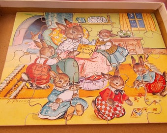 vintage jigsaw The Bunny Frolics 3-5 year old plywood pieces