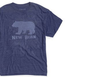New Bern Bear T-shirt, Vintage Blue or Red