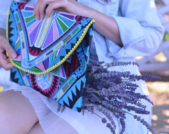 Embroideried Multicolors Ethnic  Boho Style Clutch