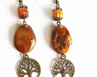 Bronze earrings, beads and tree of life
