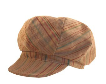 Hat style newsboy beige velvet and striped and multicolored
