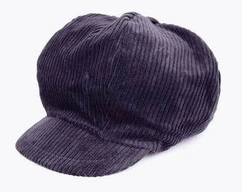 Velvet newsboy cap ribbed gray