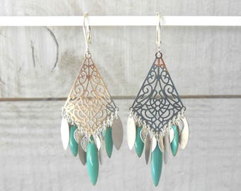 Earring silver, stamp and multi turquoise enameled pendants