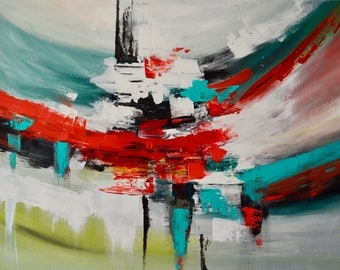 Thoughts: Large Original Abstract acrylic painting on stretched canvas 60x80cm, home office decor impasto.