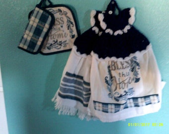 Bless this home Kitchen towel with crochet dress topper with pot holder and pot handle holder