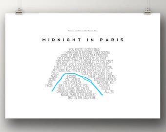 MIDNIGHT IN PARIS Poster Minimalist Movie Posters Typography Paris Map Large Wall Art Print Movie Lover Gift Woody Allen France French Art