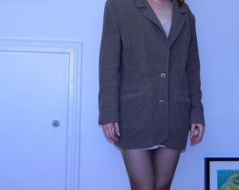 Beige Parisian Wool Coat Button-Down