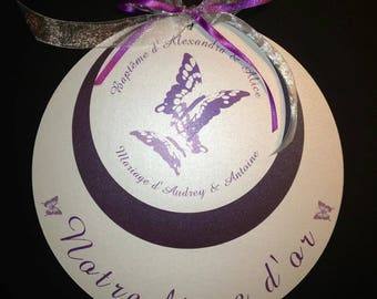 Purple Butterfly personalized round guest book