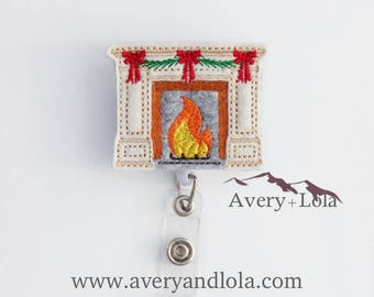 Fireplace With Bows Badge Reel, Winter Badge Reel, Christmas Badge Reel, Fireplace Badge Reel, Nurse Gift, Teacher Gift