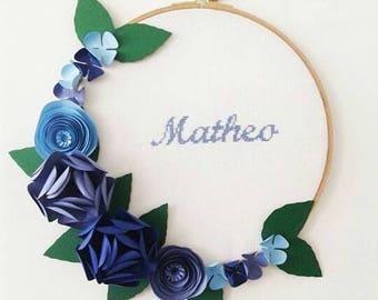 Custom floral Crown man - blue flowers