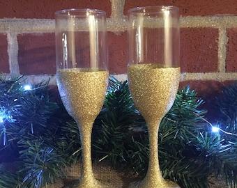 Gold Glitter Champaign Flutes, Gold Champaign Flutes, Gold Glitter Glasses, Glitter Flutes, Glitter Champaign Flutes, Glitter Glasses