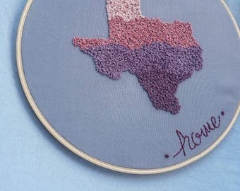 "Texas Love-Hand Embroidered Hoop Art 8"""