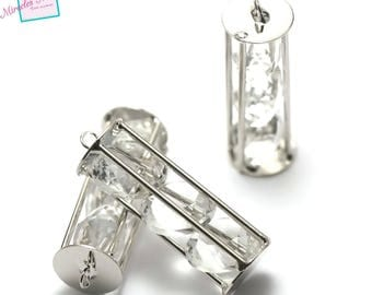 "pendants 1 ""long Crystal cage"" 45 x 11 mm"